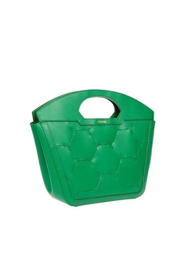 Mianqa Hakiki Deri Omuz Çantası Yeşil